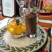 Peru.  Peruvian Cuisine.  Chocolate Mousse next to Mango Cubes in Passion Fruit Syrup.  Inka Rail Executive Service Train, Machu Picchu to Ollantaytambo.