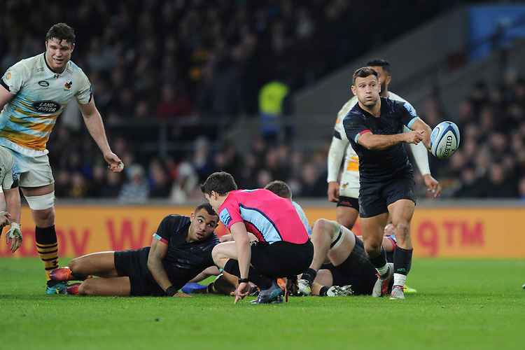 Danny Care of Harlequins passes during Big Game 11, the Gallagher Premiership Rugby match between Harlequins and Wasps, at Twickenham Stadium on Saturday 29th December 2018 (Photo by Rob Munro/Stewart Communications)