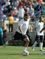 Benny Feilhaber takes a shot on goal during pre-game warmups. The USA defeated China, 4-1, in an international friendly at Spartan Stadium, San Jose, CA on June 2, 2007.