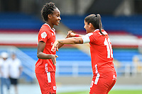CALI – COLOMBIA, 20-11-2020: Catalina Usme y Farlyn Caicedo del América celebra después de anotar el segundo gol de su equipo partido por la Fecha 6 de la Liga Femenina BetPlay DIMAYOR 2020 entre América de Cali y Deportivo Pasto jugado en el estadio Pascual Guerrero de la ciudad de Cali. / Catalina Usme and Farlyn Caicedo of America celebrates after scoring the second goal of his team during match for the date 6 as part of Women's BetPlay DIMAYOR League 2020 between America de Cali and Deportivo Pasto played at Pascual Guerrero stadium in Cali city. Photos: VizzorImage / Nelson Rios / Cont /.