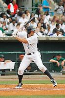 Charleston RiverDogs outfielder Brandon Thomas (6) at bat during a game against the Augusta GreenJackets at Joseph P.Riley Jr. Ballpark on April 15, 2015 in Charleston, South Carolina. Charleston defeated Augusta 8-0. (Robert Gurganus/Four Seam Images)