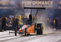 Aug 31, 2019; Clermont, IN, USA; NHRA top alcohol dragster driver Mick Steele during qualifying for the US Nationals at Lucas Oil Raceway. Mandatory Credit: Mark J. Rebilas-USA TODAY Sports