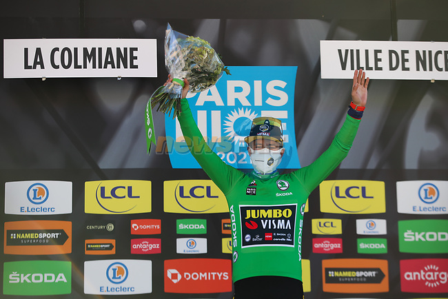 Race leader Slovenian Champion Primoz Roglic (SLO) Team Jumbo-Visma wins Stage 7 and also retains the points Green Jersey of Paris-Nice 2021, running 119.2km from Le Broc to Valdeblore La Colmiane, France. 13th March 2021.<br /> Picture: ASO/Fabien Boukla | Cyclefile<br /> <br /> All photos usage must carry mandatory copyright credit (© Cyclefile | ASO/Fabien Boukla)