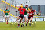 Mikey Boyle, Kerry in action against Matt Conlon, Down during the National hurling league between Kerry v Down at Austin Stack Park, Tralee on Sunday.