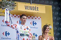 Kevin Ledanois (FRA/Team Fortuneo Samsic) takes the Polka Dot Jersey.<br /> <br /> Stage 1: Noirmoutier-en-l'Île > Fontenay-le-Comte (189km)<br /> <br /> Le Grand Départ 2018<br /> 105th Tour de France 2018<br /> ©kramon
