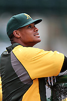 Oakland Athletics outfielder Michael Taylor #23 before a game against the Los Angeles Angels at Angel Stadium on September 24, 2011 in Anaheim,California. Los Angeles defeated Oakland 4-2.(Larry Goren/Four Seam Images)