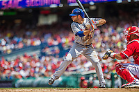 28 July 2013: New York Mets infielder Omar Quintanilla in action against the Washington Nationals at Nationals Park in Washington, DC. The Nationals defeated the Mets 14-1. Mandatory Credit: Ed Wolfstein Photo *** RAW (NEF) Image File Available ***