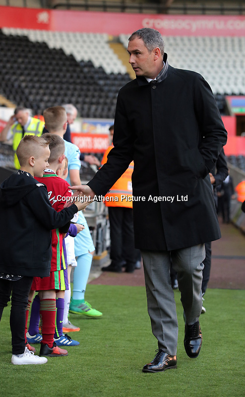 Swansea manager Paul Clement arrives prior to the game during the Premier League match between Swansea City and Brighton and Hove Albion at The Liberty Stadium, Swansea, Wales, UK. Saturday 04 November 2017
