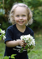 smile child flowers happy family
