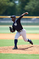 GCL Yankees East relief pitcher Anderson Severino (7) delivers a pitch during the second game of a doubleheader against the GCL Yankees West on July 19, 2017 at the Yankees Minor League Complex in Tampa, Florida.  GCL Yankees West defeated the GCL Yankees East 3-1.  (Mike Janes/Four Seam Images)