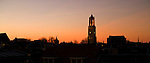 The DOM tower in Utrecht, the Netherlands at sunset.
