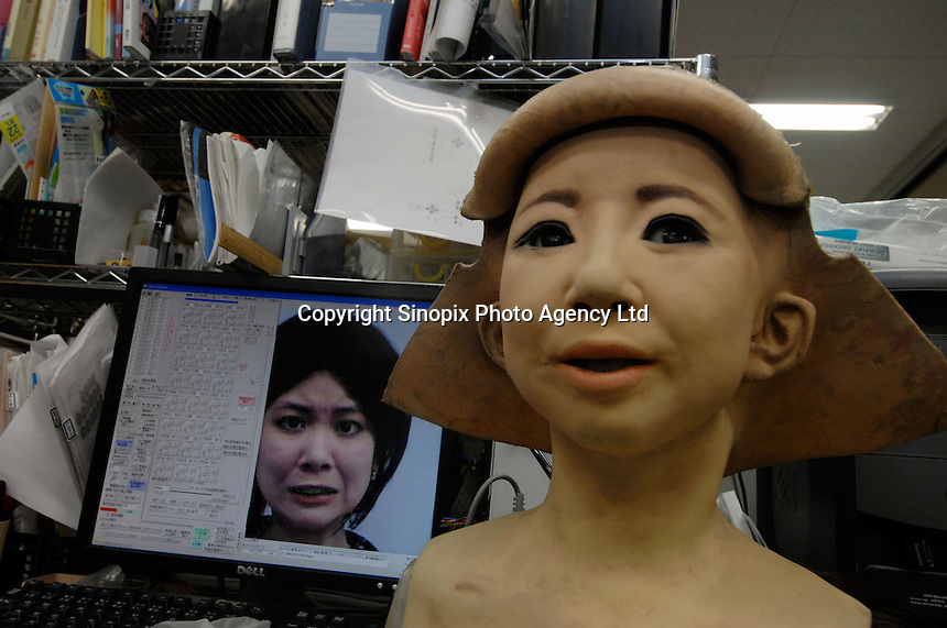 "Developers and researchers at the Tokyo Science University manipulate the facial ""muscle"" and expressions on a humanoid called SAYA. The humanoid, which can talk and has unlimited facial expressions is being introduced as a teacher for primary schools children and just underwent a successful pilot run at Kudan Primary in central Tokyo.."