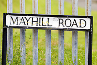 Pictured: A Mayhill Road sign. Wednesday 16 June 2021<br /> Re: Riot aftermath in the Mayhill area of Swansea, Wales, UK.