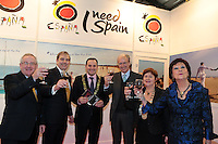 NO FEE PICTURES.25/1/13 Maureen Ledwith, Director Holiday World, Lord Mayor of Dublin is Naoise Ó Muirí and Clare Dunne, President ITAA with Pat Dawson, CEO ITAA, Gonzalo Ceballos, Turespana and Javier Garrigues, Ambassador of Spain at the Holiday World Show at the RDS, Dublin. Picture:Arthur Carron/Collins