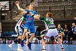 Adam Loenn (TVB Stuttgart #11) ; Nicolai Theilinger (FRISCH AUF! Goeppingen #3) ; BGV Handball Cup 2020 Finaltag: TVB Stuttgart vs. FRISCH AUF Goeppingen am 13.09.2020 in Stuttgart (PORSCHE Arena), Baden-Wuerttemberg, Deutschland<br /> <br /> Foto © PIX-Sportfotos *** Foto ist honorarpflichtig! *** Auf Anfrage in hoeherer Qualitaet/Aufloesung. Belegexemplar erbeten. Veroeffentlichung ausschliesslich fuer journalistisch-publizistische Zwecke. For editorial use only.
