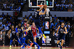 Dwight Powell of Dallas Mavericks (C) in action during the NBA China Games 2018 match between Dallas Mavericks and Philadelphia 76ers at Universiade Center on October 08 2018 in Shenzhen, China. Photo by Marcio Rodrigo Machado / Power Sport Images
