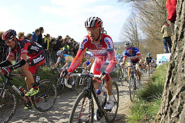 The peloton including George Hincapie (USA) BMC Racing Team and Luca Paolini (ITA) Katusha Team climbs Koppenberg during the 96th edition of The Tour of Flanders 2012, running 256.9km from Bruges to Oudenaarde, Belgium. 1st April 2012. <br /> (Photo by Eoin Clarke/NEWSFILE).