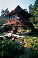 An exterior view of Ginkakuji Buddhist temple and surrounding landscaped grounds. Kyoto, Japan.