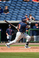 Cal State Fullerton Titans infielder Dustin Vaught (31) at bat during a game against the Louisville Cardinals on February 15, 2015 at Bright House Field in Clearwater, Florida.  Cal State Fullerton defeated Louisville 8-6.  (Mike Janes/Four Seam Images)