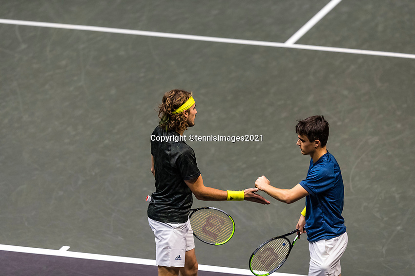 Rotterdam, The Netherlands, 3 march  2021, ABNAMRO World Tennis Tournament, Ahoy, First round doubles: Petro Tsitsipas (GRE) / Stefanos Tsitsipas (GRE) vs. Sander Gille (BEL) / Joran Vliegen (BEL).<br /> Photo: www.tennisimages.com/