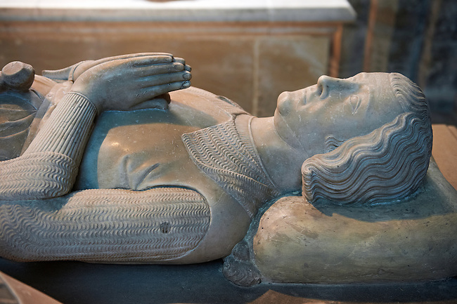 Tomb of Louis of France (1319) count of Evreux and son of Philippe III le Hardi King of France. The Gothic Cathedral Basilica of Saint Denis ( Basilique Saint-Denis ) Paris, France. A UNESCO World Heritage Site.