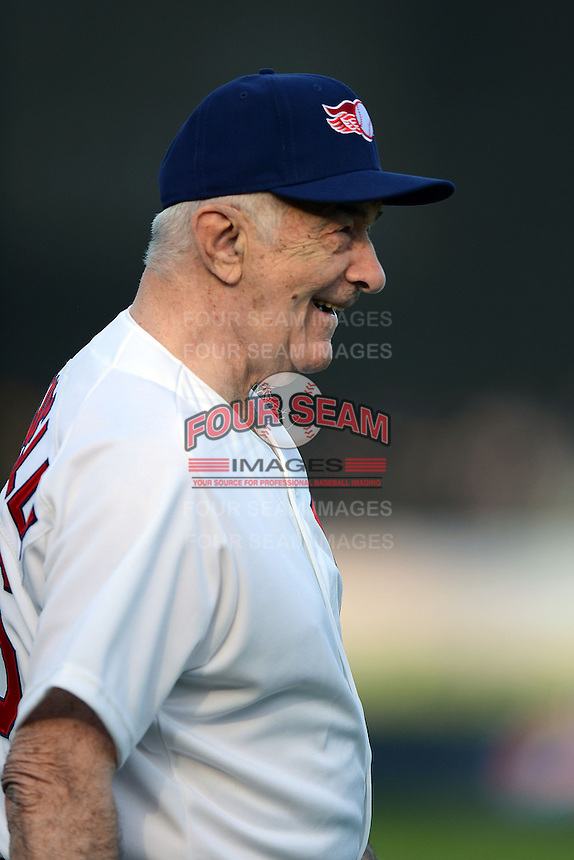 Former Baltimore Orioles and Rochester Red Wings manager Joe Altobelli coaches third base during the MLB Pepsi Max Field of Dreams game on May 18, 2013 at Frontier Field in Rochester, New York.  (Mike Janes/Four Seam Images)