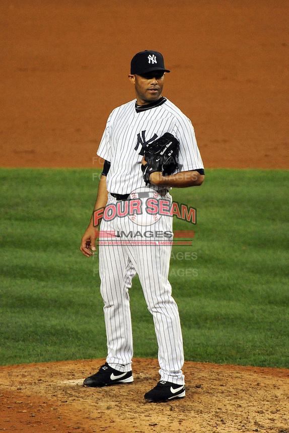 New York Yankees pitcher Mariano Rivera #42 during ALDS game #5 against the Detroit Tigers at Yankee Stadium on October 06, 2011 in Bronx, NY.  Detroit defeated New York 3-2 to take the series 3 games to 2 games.  Tomasso DeRosa/Four Seam Images