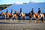 Horseback riders in lineup in horse show at Cheshire Fair in Swanzey, New Hampshire USA