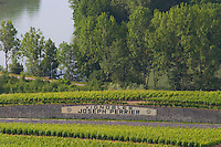 A view over the vineyards and the river in Vallee de la Marne with a road and a sign saying Vignobles Joseph Perrier, the village of Hautvillers in Vallee de la Marne, Champagne, Marne, Ardennes, France