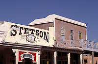 Western-style 1800s building facades and signage on Allen St. in Tombstone, AZ. Tombstone Arizona USA.
