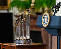 The Commissioner's Trophy is displayed during President Joe Biden's remarks celebrating the 2020 Baseball World Series Champions, the Los Angeles Dodgers, Friday, July 2, 2021, in the East Room of the White House. (Official White House Photo by Adam Schultz)