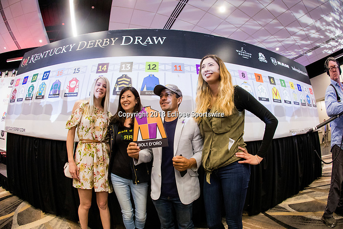 LOUISVILLE, KY - MAY 01: Team Bolt d'oro at the Post Position Draw for the Kentucky Derby at at Churchill Downs on May 1, 2018 in Louisville, Kentucky. (Photo by Alex Evers/Eclipse Sportswire/Getty Images)