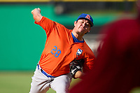 St. Lucie Mets pitcher Oscar Rojas (28) during a game against the Clearwater Threshers on July 1, 2021 at BayCare Ballpark in Clearwater, Florida.  (Mike Janes/Four Seam Images)