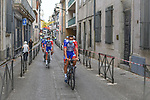 Masked Groupama-FDJ riders make their way to sign on before Stage 2 of the Route d'Occitanie 2020, running 174.5km from Carcassone to Cap Découverte, France. 2nd August 2020. <br /> Picture: Colin Flockton | Cyclefile<br /> <br /> All photos usage must carry mandatory copyright credit (© Cyclefile | Colin Flockton)