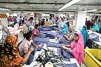 Female workers work at a garments factory in Bangladesh