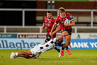 21st August 2020; Kingsholm Stadium, Gloucester, Gloucestershire, England; English Premiership Rugby, Gloucester versus Bristol Bears; Chris Harris of Gloucester stays strong and breaks the tackle