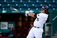 Brock Chaffin (25) of the Missouri State Bears makes contact on a pitch during a game against the Southern Illinois University- Edwardsville Cougars at Hammons Field on March 9, 2012 in Springfield, Missouri. (David Welker / Four Seam Images)