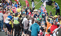 Thomas Voeckler (FRA/Europcar) up Holme Moss Hill (521m/4.7km/7%) in 2nd position and is sheered on by thousands of enthusiastic british fans<br /> <br /> 2014 Tour de France<br /> stage 2: York-Sheffield (201km)