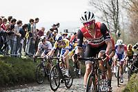 Jasper Stuyven (BEL/Trek Segafredo) up the  Koppenberg, cobbles<br /> <br /> 103rd Ronde van Vlaanderen 2019<br /> One day race from Antwerp to Oudenaarde (BEL/270km)<br /> <br /> ©kramon