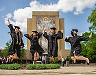 May 18, 2014; Graduates celebrate in front of Hesburgh Library after Commencement 2014. Photo by Matt Cashore/University of Notre Dame