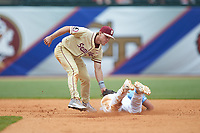Florida State Seminoles shortstop Taylor Walls (10) applies a tag on Michael Busch (15) of the North Carolina Tar Heels as he attempts to steal second base during the 2017 ACC Baseball Championship Game at Louisville Slugger Field on May 28, 2017 in Louisville, Kentucky.  The Seminoles defeated the Tar Heels 7-3.  (Brian Westerholt/Four Seam Images)