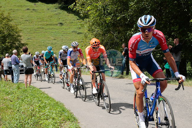 The breakaway including Lilian Calmejane (FRA) Total Direct Energie, Georg Zimmermann (GER) CCC Team, Matthieu Ladagnous (FRA) Groupama-FDJ, Harold Tejada (COL) Astana, Julien Bernard (FRA) Trek-Segafredo, Joan Bou (ESP) Euskaltel-Euskadi, Julien Trarieux (FRA) Nippo-Delko and Benoît Cosnefroy (FRA) AG2R La Mondiale climb the 1st Col during Stage 3 of the Route d'Occitanie 2020, running 163.5km from Saint-Gaudens to Col de Beyrède, France. 3rd August 2020. <br /> Picture: Colin Flockton   Cyclefile<br /> <br /> All photos usage must carry mandatory copyright credit (© Cyclefile   Colin Flockton)