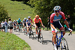 The breakaway including Lilian Calmejane (FRA) Total Direct Energie, Georg Zimmermann (GER) CCC Team, Matthieu Ladagnous (FRA) Groupama-FDJ, Harold Tejada (COL) Astana, Julien Bernard (FRA) Trek-Segafredo, Joan Bou (ESP) Euskaltel-Euskadi, Julien Trarieux (FRA) Nippo-Delko and Benoît Cosnefroy (FRA) AG2R La Mondiale climb the 1st Col during Stage 3 of the Route d'Occitanie 2020, running 163.5km from Saint-Gaudens to Col de Beyrède, France. 3rd August 2020. <br /> Picture: Colin Flockton | Cyclefile<br /> <br /> All photos usage must carry mandatory copyright credit (© Cyclefile | Colin Flockton)