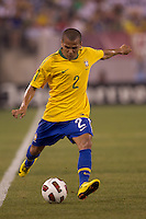 Brazil defender Daniel Alves (2) passes the ball. Brazil  defeated the US men's national team, 2-0, in a friendly at Meadowlands Stadium on August 10, 2010.