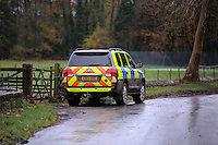 Pictured: A police car by river Ogmore near Stormy Down, Wales, UK. Tuesday 22 November 2016<br />