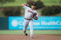Hickory Crawdads starting pitcher Emerson Martinez (19) in action against the Kannapolis Intimidators at Kannapolis Intimidators Stadium on April 21, 2017 in Kannapolis, North Carolina.  (Brian Westerholt/Four Seam Images)
