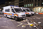 © Joel Goodman - 07973 332324 . 09/12/2010 . London , UK . Vandalised police riot vans on Whitehall . Students and their supporters clash with police during a demonstration in Parliament Square in London against government cuts to student support , Educational Maintenance Allowance ( EMA ) and rising university tuition fees . Photo credit : Joel Goodman