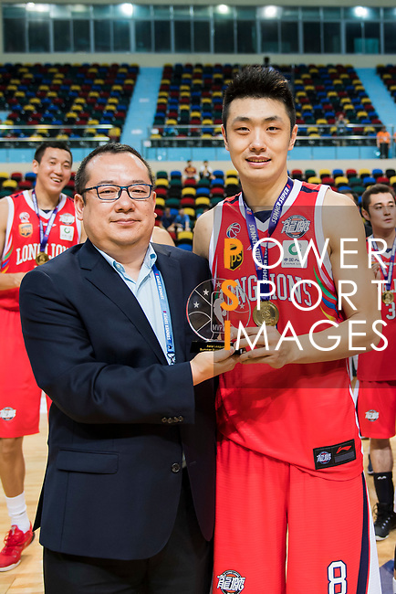 Ju Mingxin of Guangzhou Long Lions receives the Most Valuable Player Award at the Awards Ceremony of the Summer Super 8  at the Macao East Asian Games Dome on July 22, 2018 in Macau, Macau. Photo by Marcio Rodrigo Machado / Power Sport Images