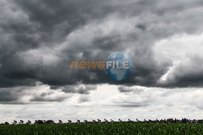 Tim Declercq ((BEL) Deceuninck-Quick Step leads the peloton during Stage 4 of the 2021 Tour de France, running 150.4km from Redon to Fougeres, France. 29th June 2021.  <br /> Picture: A.S.O./Charly Lopez | Cyclefile<br /> <br /> All photos usage must carry mandatory copyright credit (© Cyclefile | A.S.O./Charly Lopez)