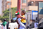 Sudanese protesters chant during a protest on Sixty street in the east of the capital Khartoum, on June 30, 2020. Tens of thousands of Sudanese took to the streets in several cities and the capital calling for reforms and demanding justice for those killed in anti-government demonstrations that ousted president Omar al-Bashir last year. The protests went ahead with security forces deployed in force and despite a tight curfew since April designed to curb the spread of the novel coronavirus. Photo by faiz Abu bakr